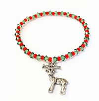 Christmas Themed Stretchy Bracelet Kit with Reindeer Charm and SWAROVSKI® ELEMENTS crystal beads